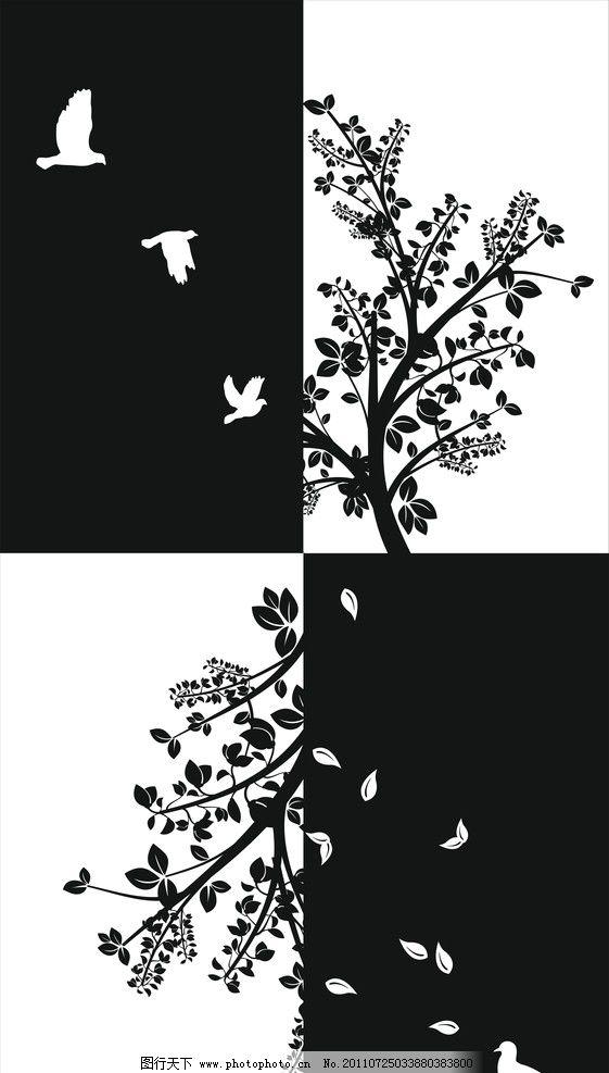 黑白装饰画 黑白 树 白鸽