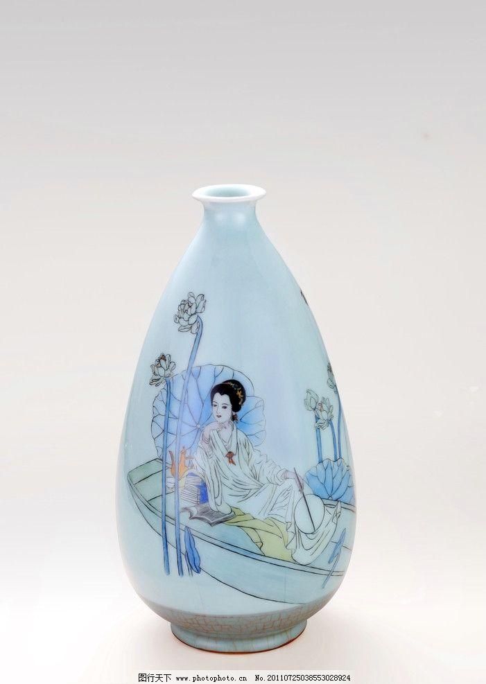 龙泉青瓷手绘瓷瓶图片