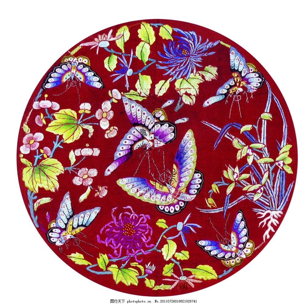 刺绣蝴蝶 兰花,中国传统吉祥图案 中国风 刺绣植物花