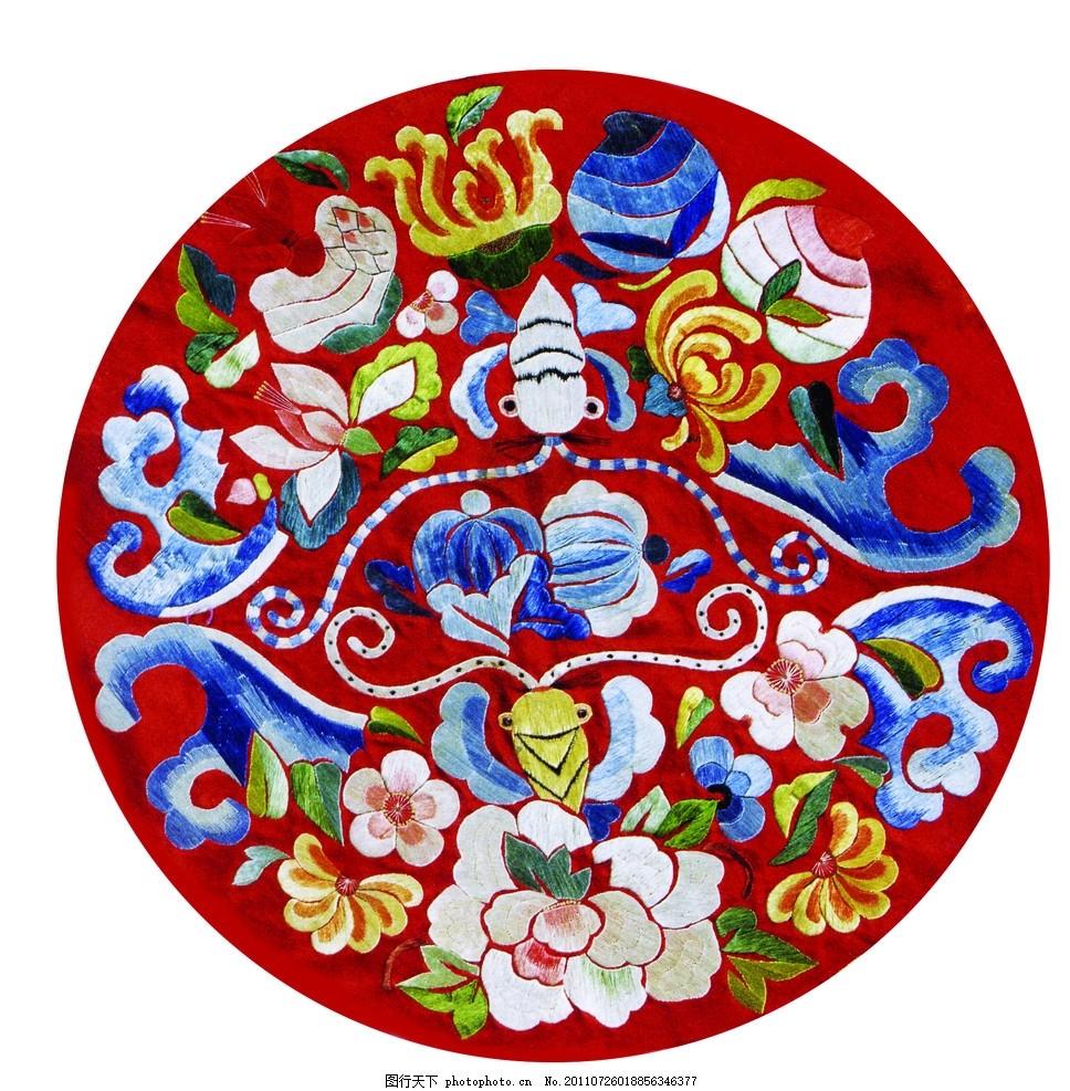 刺绣花图 中国传统吉祥图案 中国风 刺绣团花 富贵花图 富贵图案