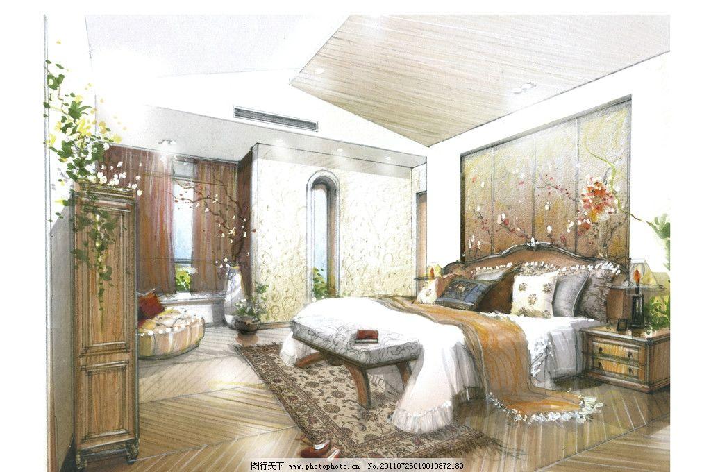 主卧室 欧式古典风格 古典双人床 床柜 室内手绘图 绘画书法 文化艺术