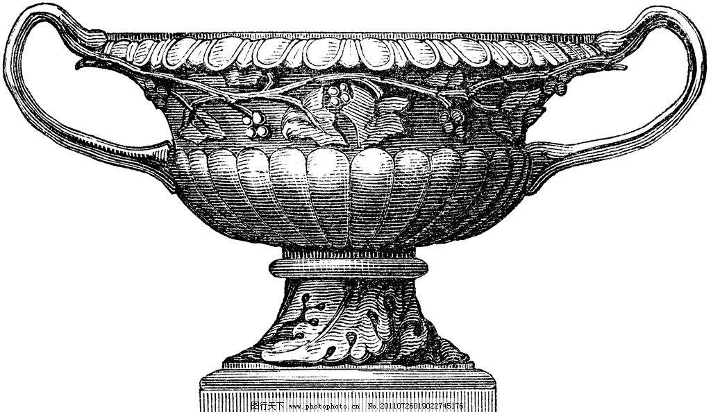钢笔画 欧式花瓶