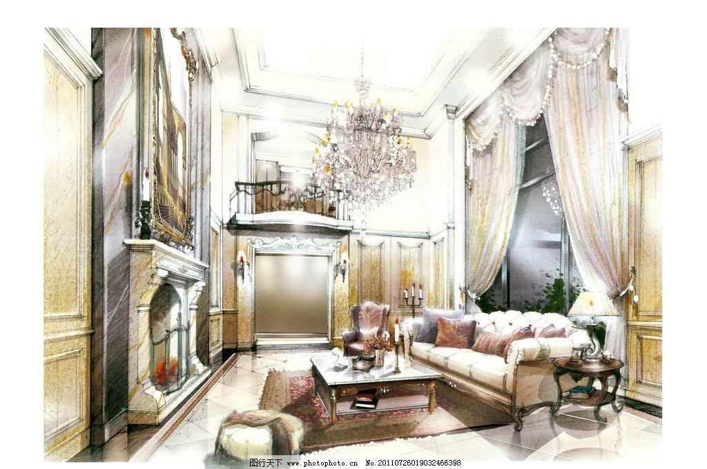 客厅图片,室内手绘图 欧式古典风格-图行天下图库