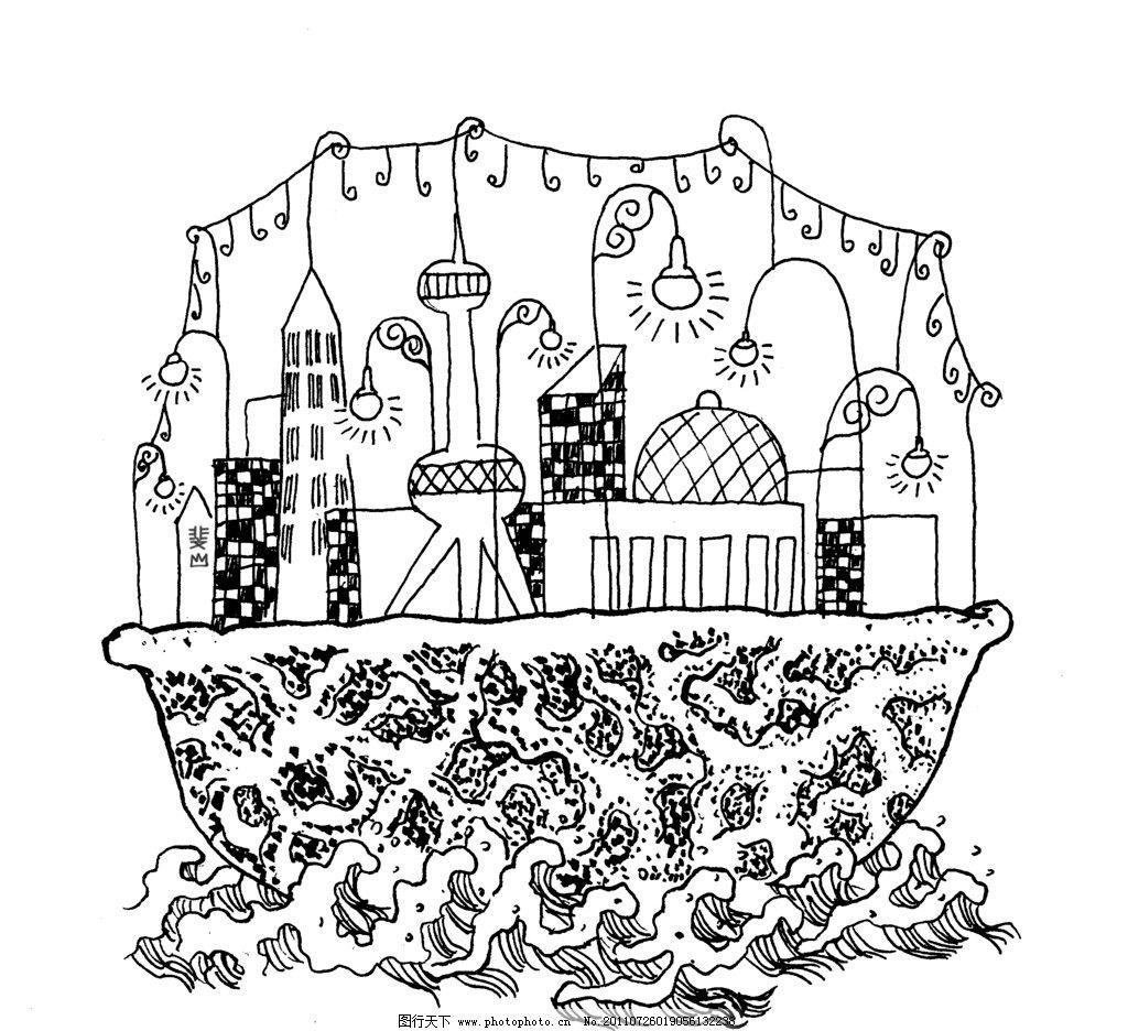 杂志插图 手绘 建筑 灯插图 绘画书法 文化艺术 设计 400dpi jpg