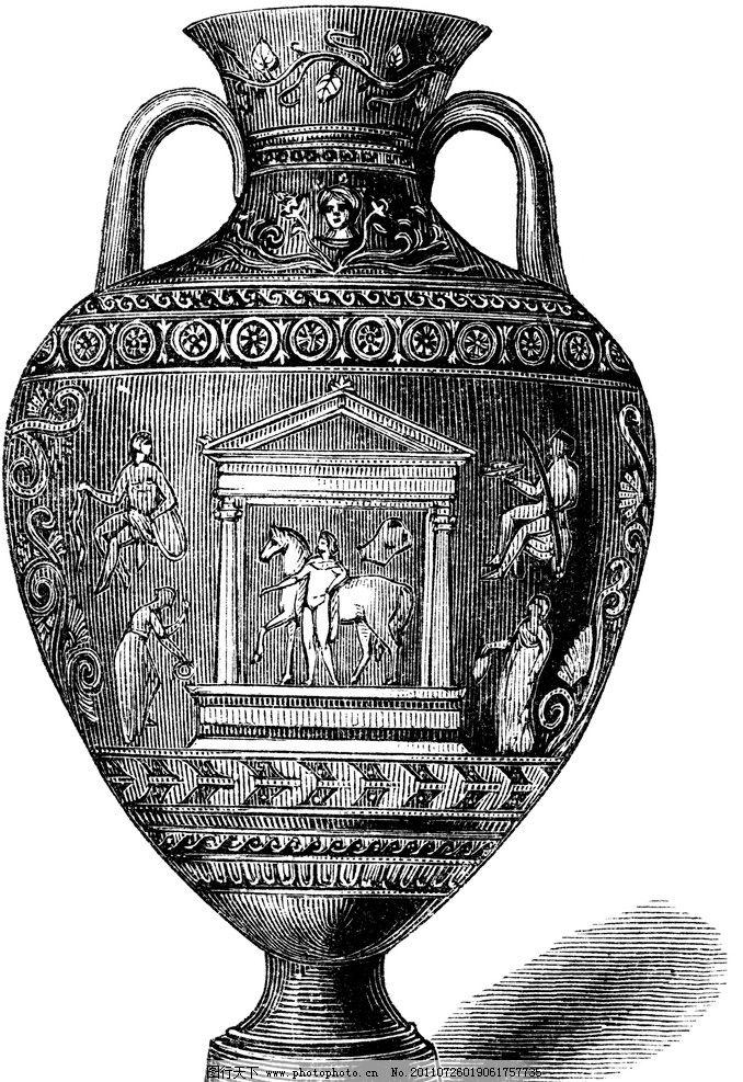 复古钢笔画 复古 钢笔画 欧式花瓶 装饰纹样 宗教 绘画书法 文化艺术