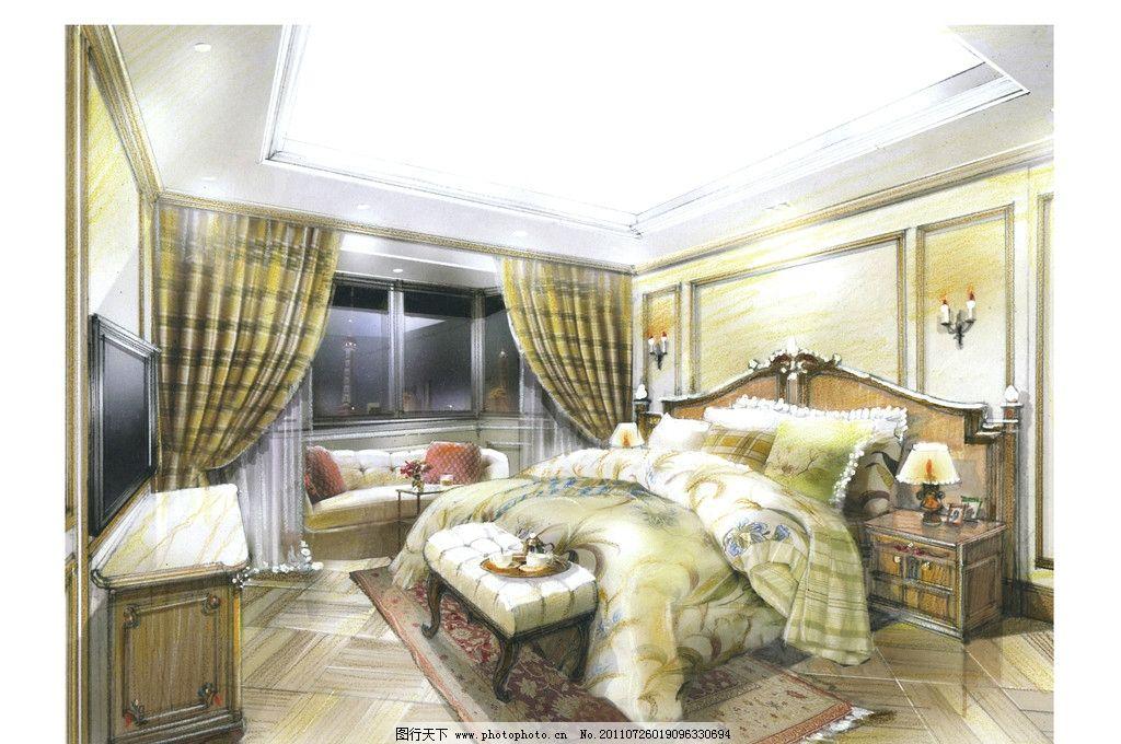 女卧室 室内手绘图 欧式古典风格 绘画书法 文化艺术