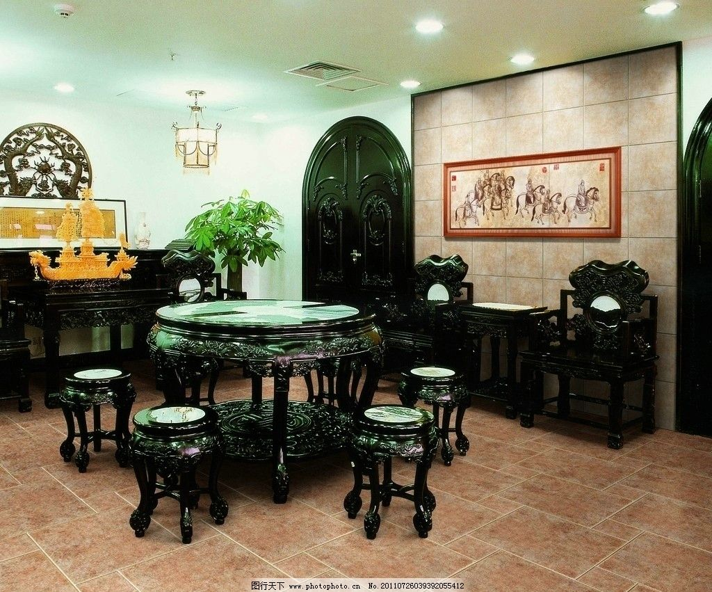 中式餐厅 中式餐桌 中式餐椅 古典中式 室内装修效果及摄影 室内摄影