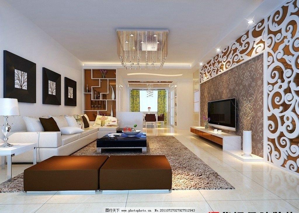 客厅 客厅效果图 客厅装饰 沙发 彩色电视机 油画