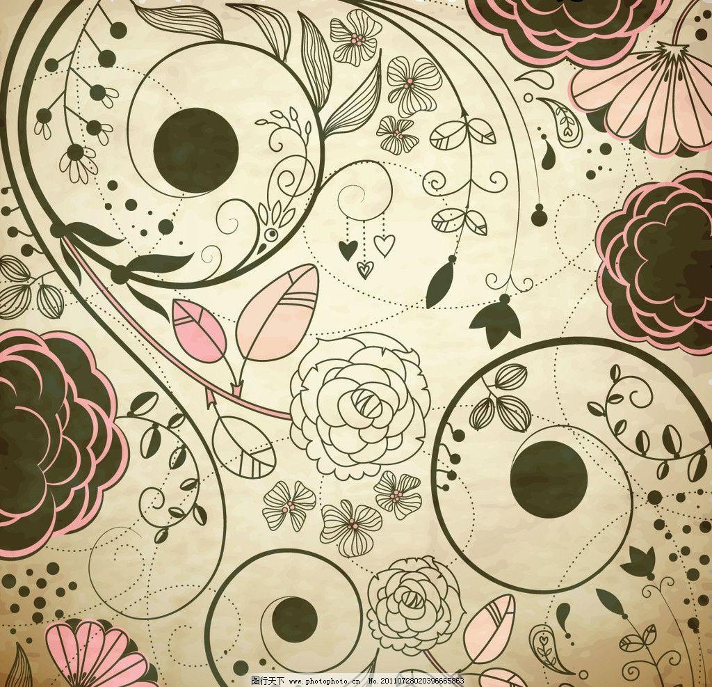 手绘 花藤 藤蔓 线描 欧式花纹 欧式花边 缠绕 线条 花纹 叶子 花卉