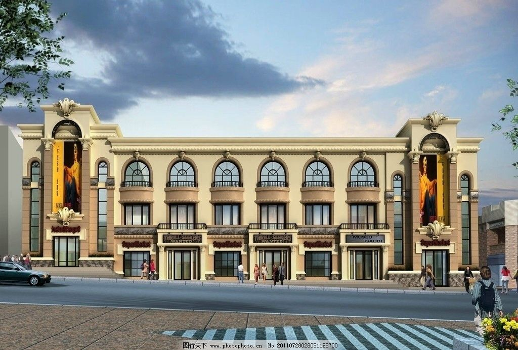 室外效果图设计 欧式建筑效果图 3d室外效果图 街景效果图 室外效果图