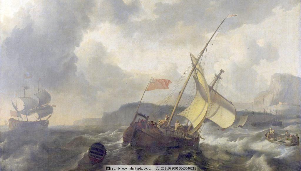 古典欧式船景油画图片