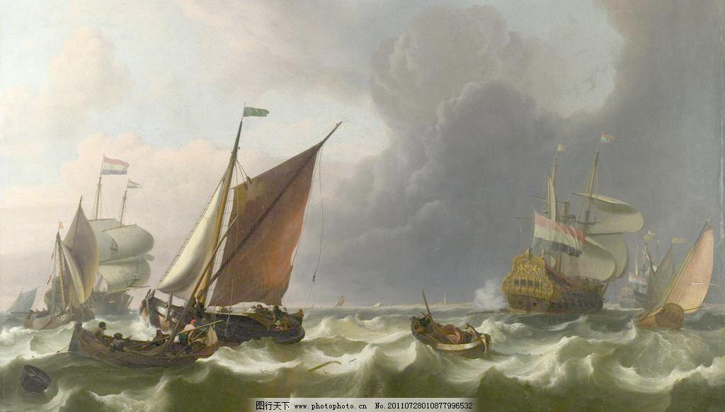 欧式船景油画图片