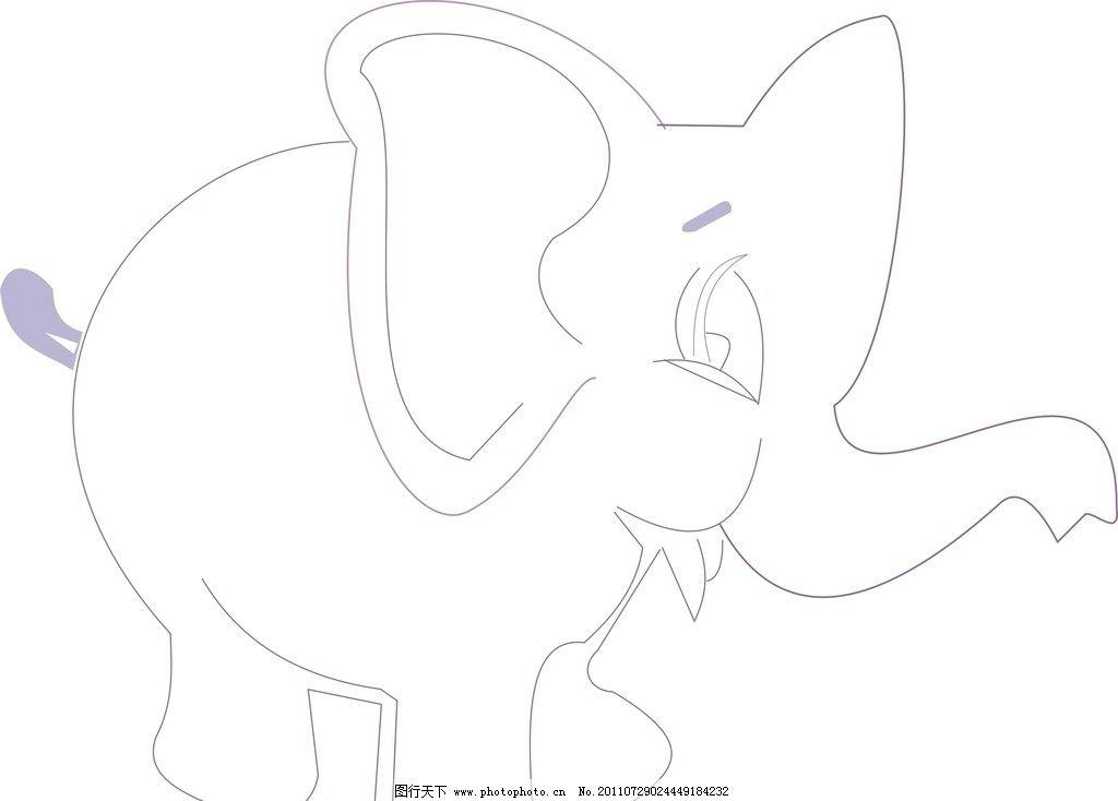 大象正面手绘画