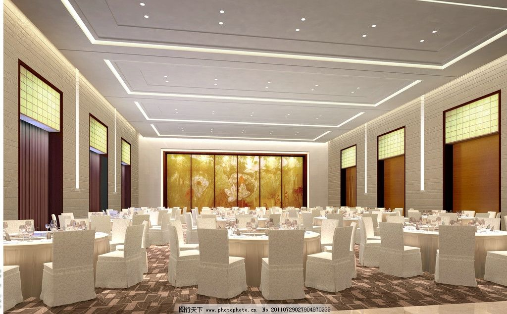 宴会厅效果图 宴会厅 报告厅 酒店设计 花纹地毯 五星级酒店 万豪酒店