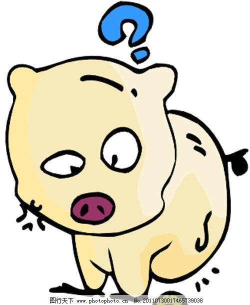 小猪 虫子 疑问 可爱 卡通 漫画 矢量素材 可爱卡通动物 其他生物