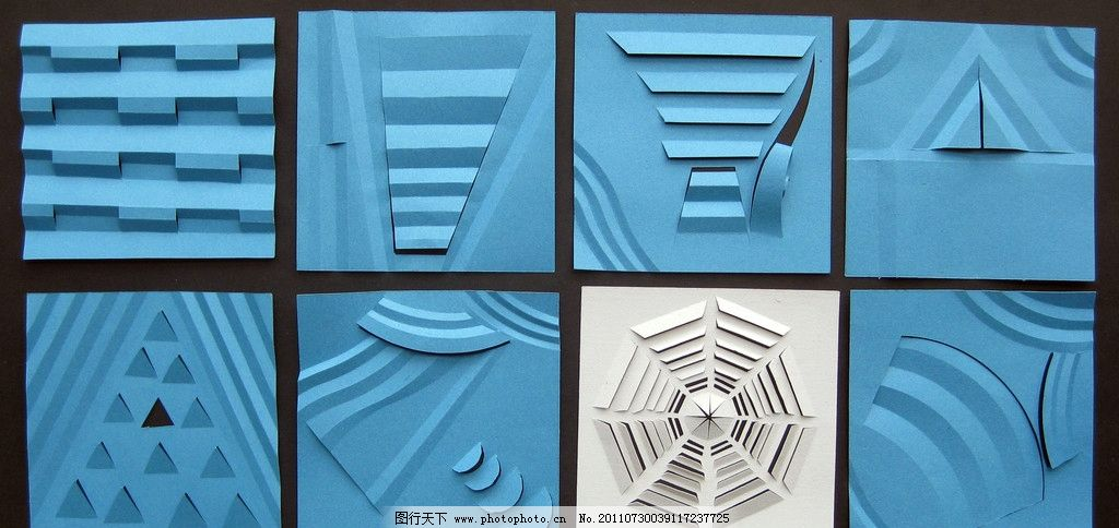 立体构成 二维空间 纸质构成 多刀多切 几何图形镂空 折纸艺术