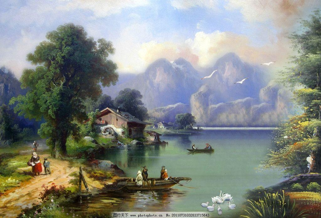 油画 油画山水 风景画 风景油画 油画人物 划船 行人 房子 茅屋 流水