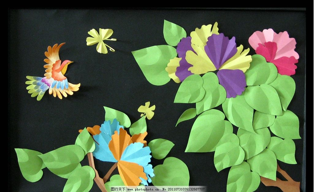 装饰画 鸟的天堂 立体构成 彩色树叶 花朵 二维空间 纸质构成 折纸