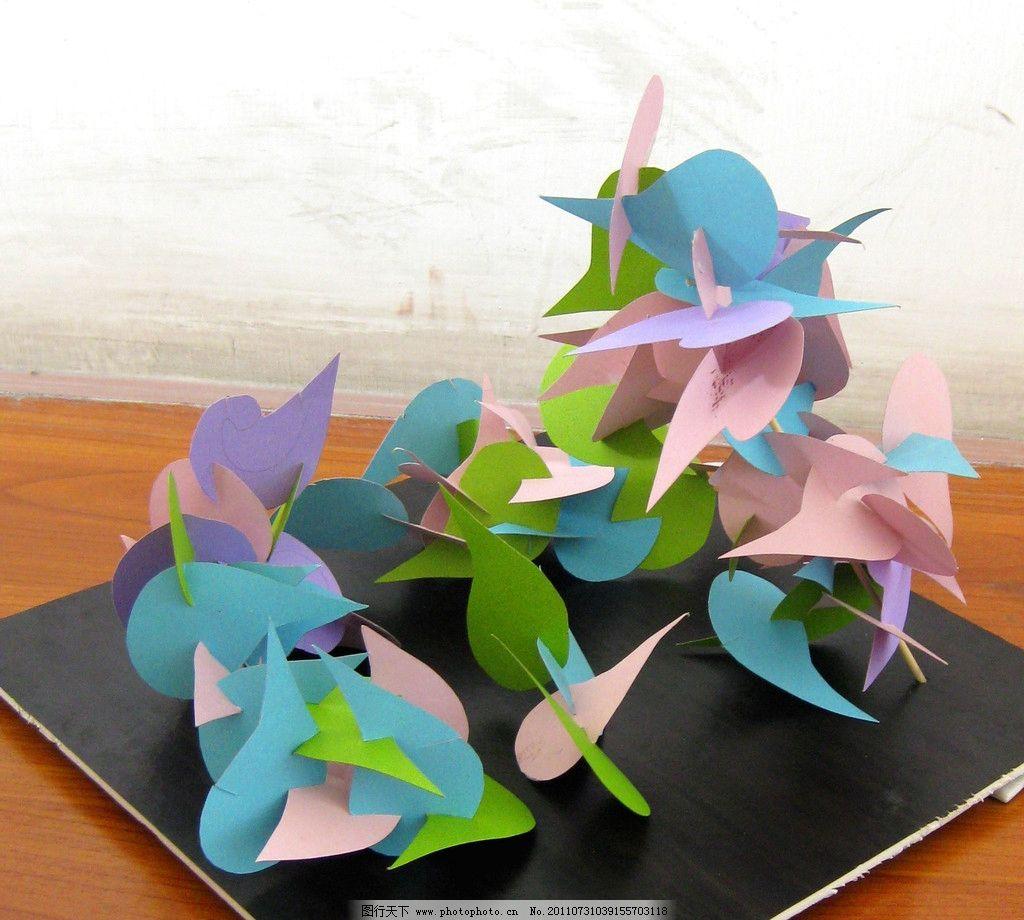 立体构成 三维空间 几何搭建 彩色卡片 现代雕塑素材 几何图形构成