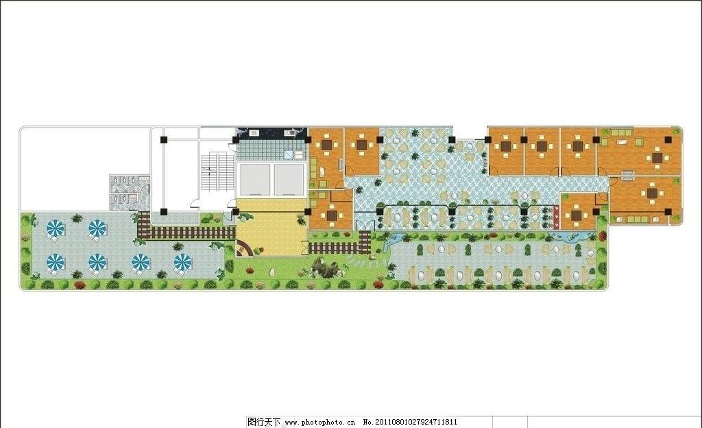 大型茶坊平面图 茶楼平面图 茶坊平面图 装修平面图 室内设计 建筑