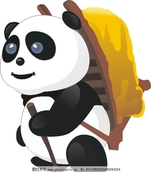 熊猫 背包 拐杖 矢量 野生动物 生物世界 cdr