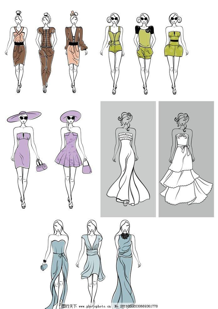 手绘服装模特图片