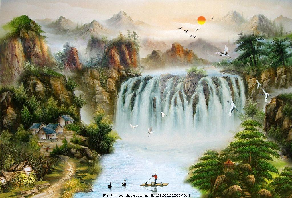 油画山水 风景画 风景油画 瀑布 大瀑布 流水 河流 碧水 树 树林 松树