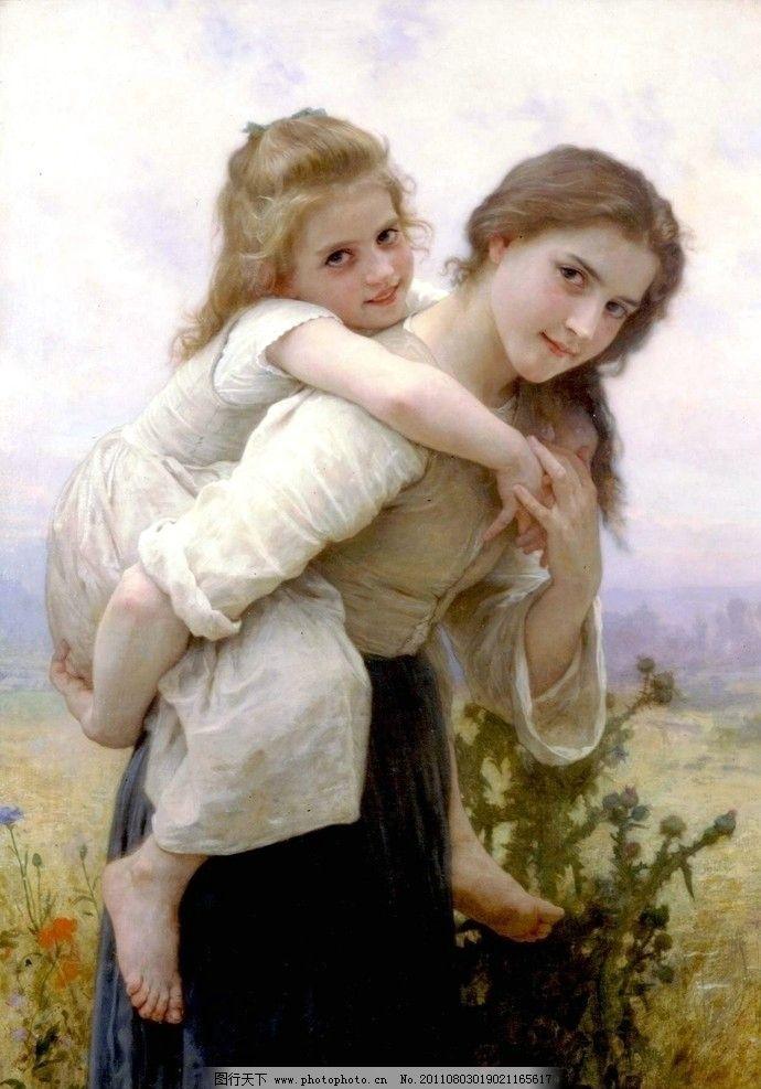 女人 妇女 妇人 树木 植物 服装 衣服 西方油画 油画人物 女孩 孩子
