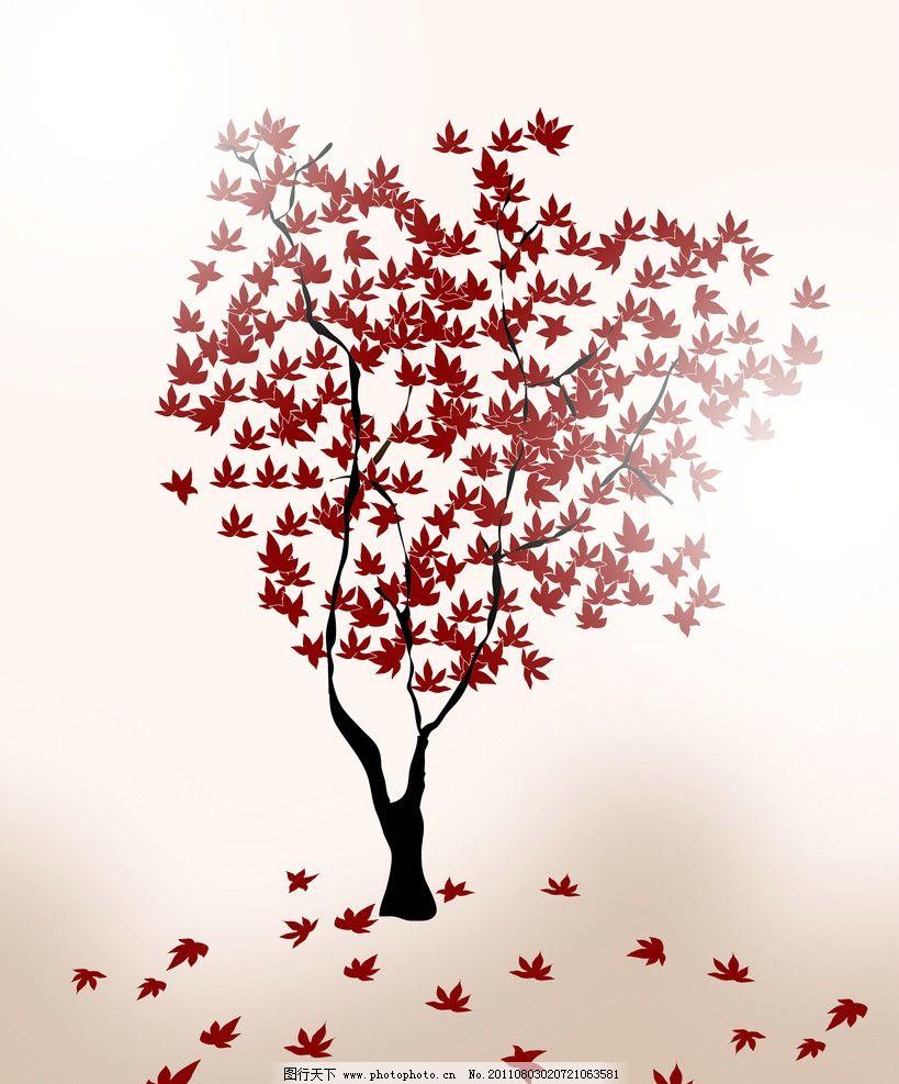 植物 花树 墙绘 墙贴 花纹 背景 底纹 花瓣 潮流纹 树叶 红色 飘落