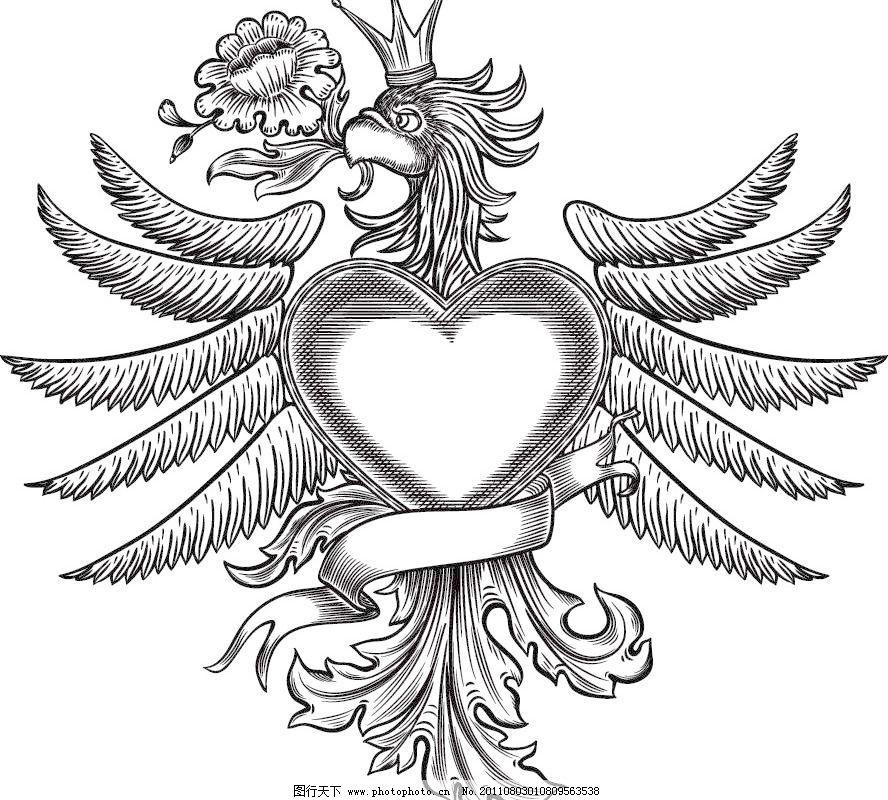 古典 古典边框 爱心古典欧式花纹花边框矢量素材 爱心古典欧式花纹花