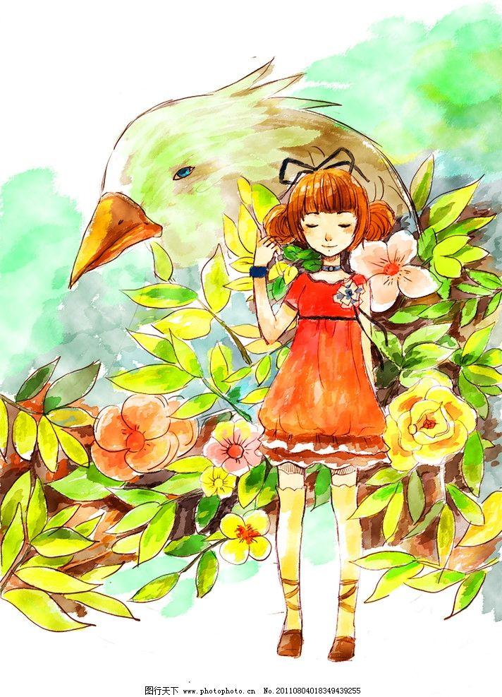 设计图库 动漫卡通 动漫人物  女孩 水彩 春天 生机 油画 插图 卡通图片