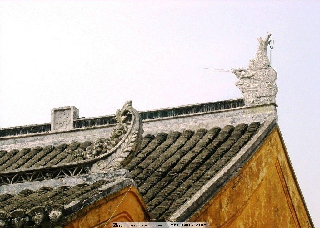 屋檐 寺庙 香光莲寺 中式建筑 屋顶 建筑景观 自然景观 摄影 300dpi图片