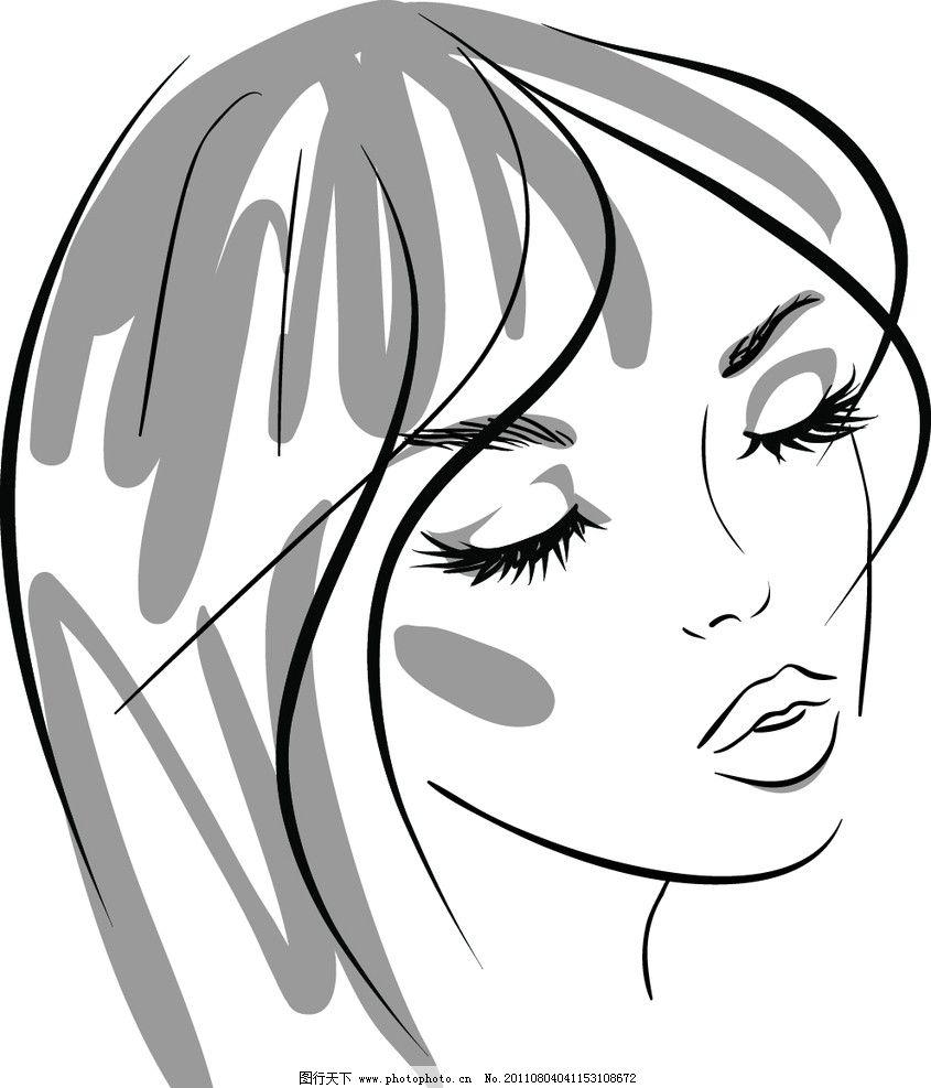 素描美女头像 手绘美女头像 手绘时尚女孩头像 钢笔画美女 女性脸部