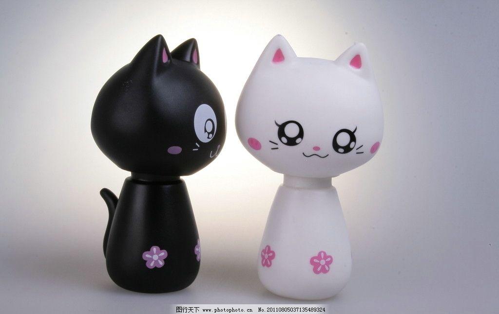 情侣猫 卡通 猫咪 可爱 白猫 黑猫 娱乐休闲 摄影