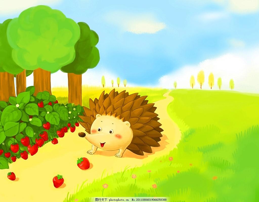 回家 刺猬 春天 小路 动物 油画 插图 卡通 装饰画 无框画 插画 儿童