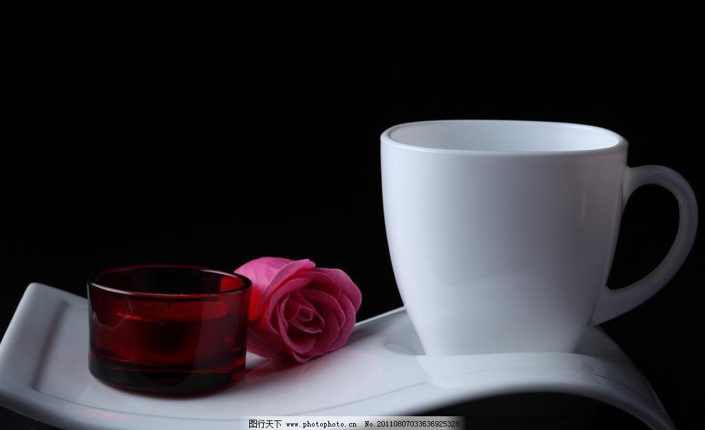咖啡图片素材下载 咖啡 咖啡杯 玫瑰花 饮料 蜡烛 饮料酒水 餐饮美食