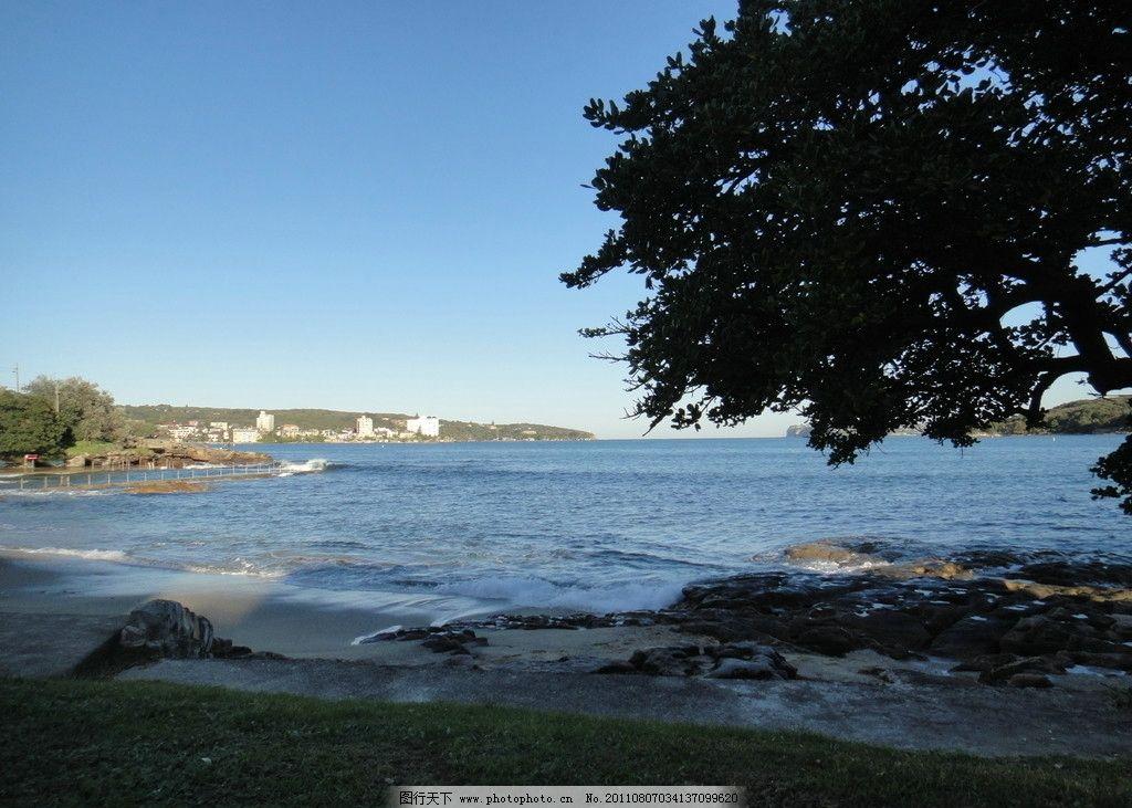 海边风景 海边 海湾 礁石 海浪 绿树 蓝天 大海 自然 自然风景 摄影