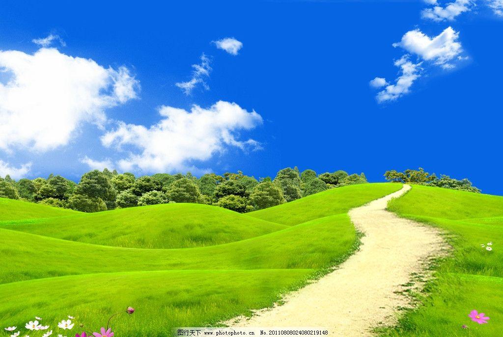 自然之美 蓝天白云草地 蓝天 白云 美景 原野 乡村 自然 树木 花 蝴蝶