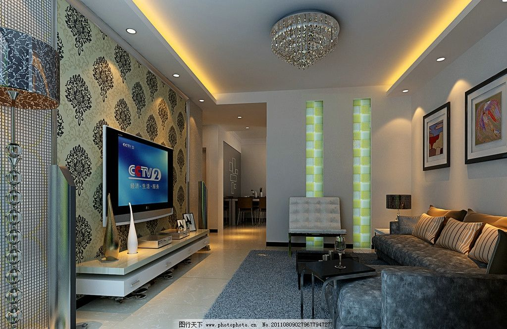 背景墙 绒布沙发 抱枕 理石地面 地毯 茶几 铝塑多彩灯柱 壁画图片