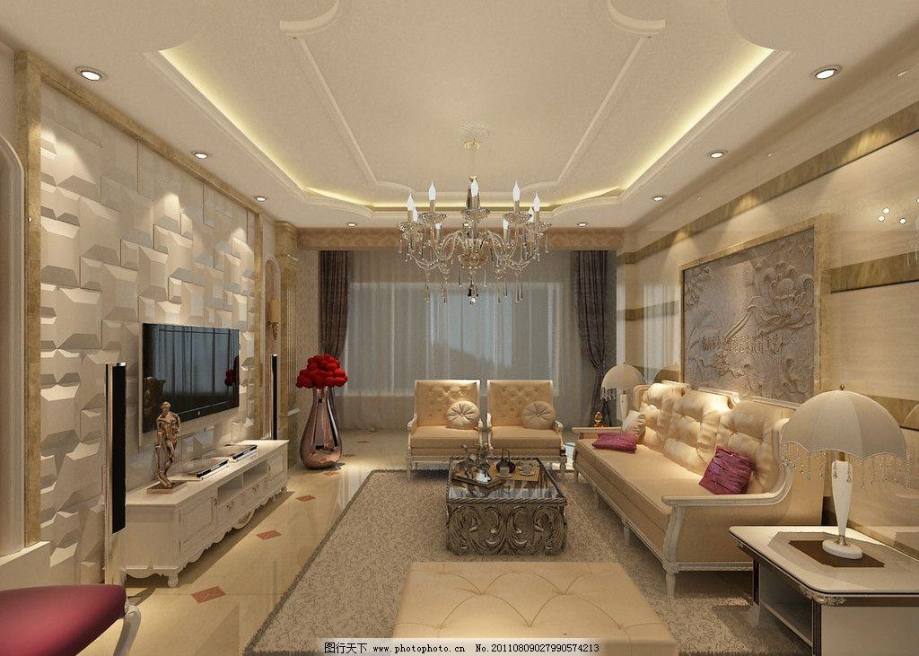 欧式客厅 欧式风格 大理石背景 电视背景拼贴 黄白色 室内设计 环境