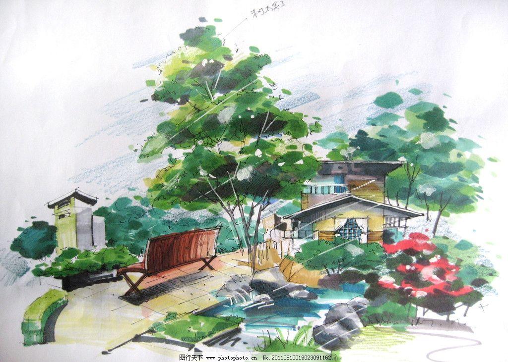 手绘景观 马克笔手绘 景观 植物 小建筑 绘画书法 文化艺术 设计 180