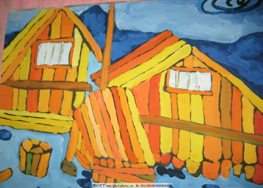 彩色装饰画 水粉 房子 色彩 绘画书法 文化艺术 设计 180dpi jpg