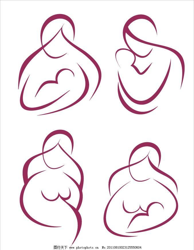 手绘妈妈和婴儿宝宝草图 手绘 妈妈 母亲 婴儿 宝宝 甜蜜 幸福 快乐