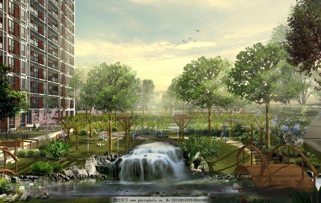 小区绿化 公园 小区 绿化 湖边        设计 环境 景观 景观设计 环境