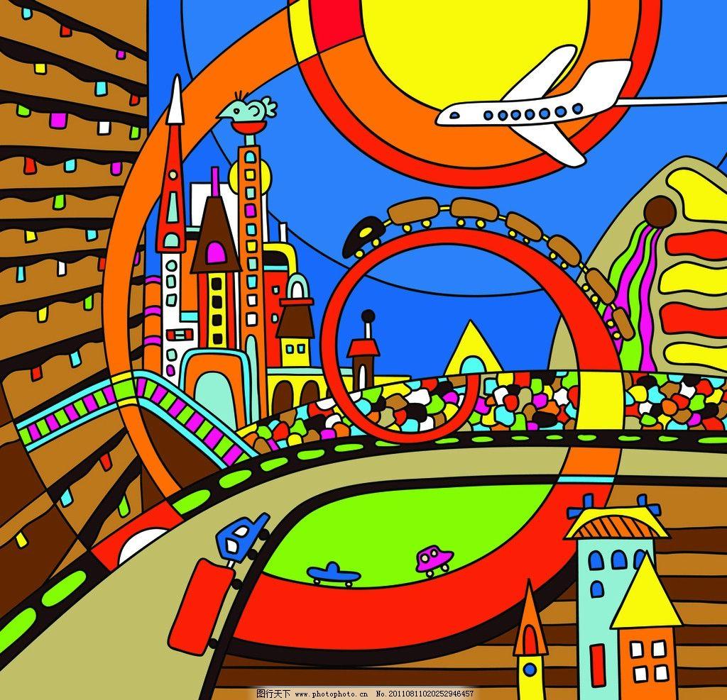 卡通背景 童话世界 城市 飞机 城堡 汽车 交通工具 儿童画 矢量 EPS 背景底纹矢量素材 底纹背景 底纹边框