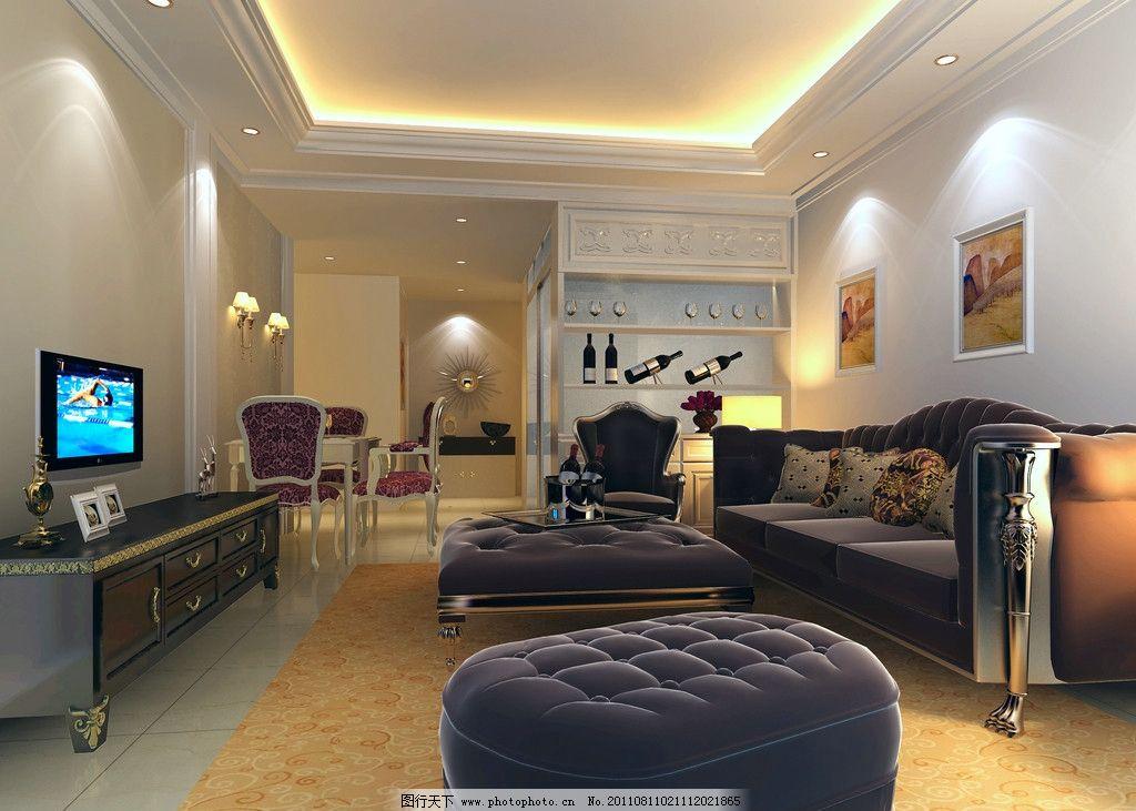简欧客厅设计 欧式 石膏吊顶 角线 沙发 筒灯 电视柜 酒柜 装饰画图片