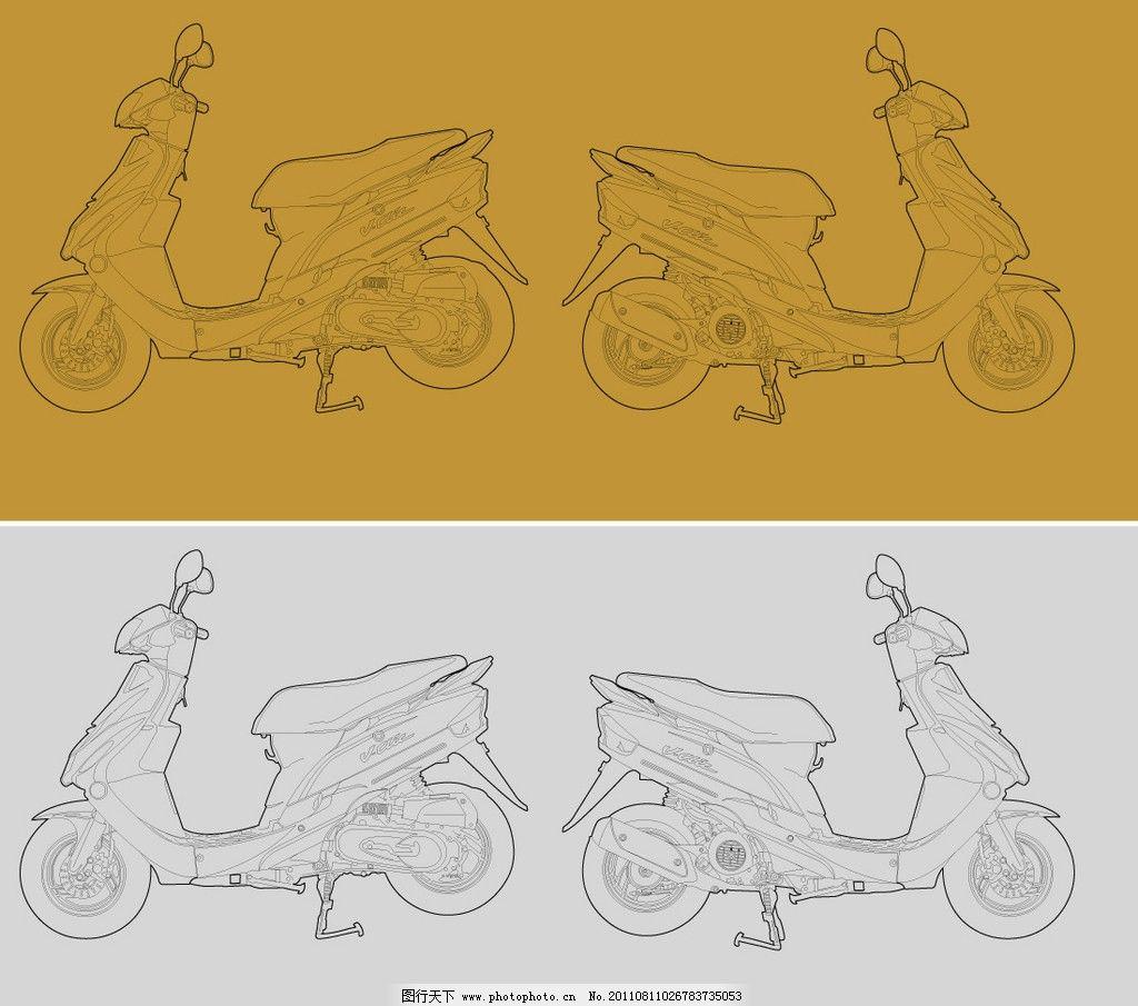 线描摩托车结构图图片