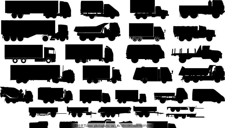 货车卡车剪影 运输 矢量
