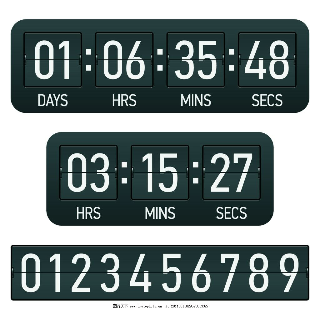 倒计时牌 计时器 数字 阿拉伯数字 时间 秒表 矢量 广告设计矢量素材