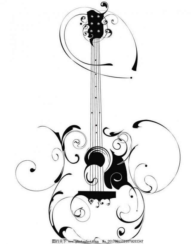 吉他 墙贴图片_壁纸墙画_装饰素材_图行天下图库